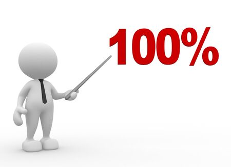 summary: 3d people - man, person with a percent sign.100%. Businessman