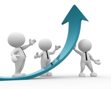 ascent: 3d people - men, person and a graph arrow. Business partners. Stock Photo