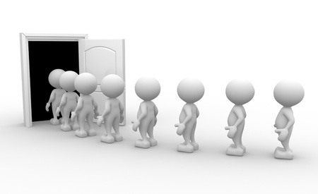 fictional character: 3d people - men, person with a open door. Stock Photo