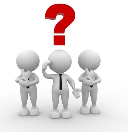 3d persone - uomini, persona con un punto interrogativo