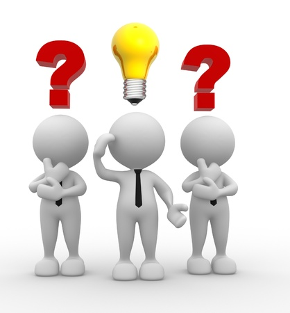 3d people - men, person with question marks and a light bulb. Intelligence Stock Photo - 16896961