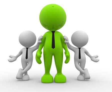3d people - men, person together. Communication photo