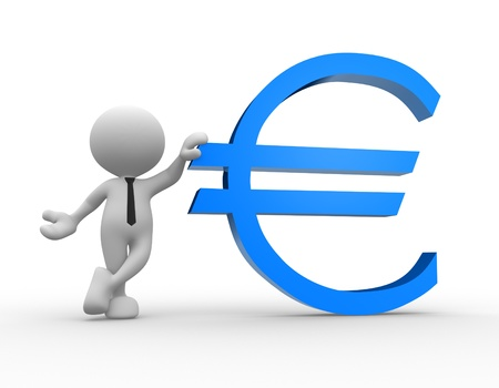 money euro: 3d people - man, person leaning on an euro sign