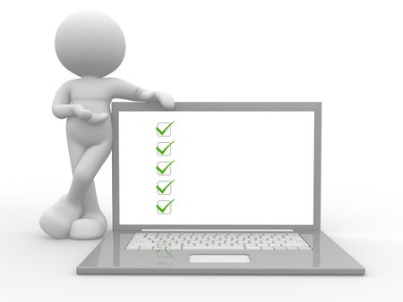 checklist icon: 3d people - man, person with laptop and a checklist  ok Stock Photo