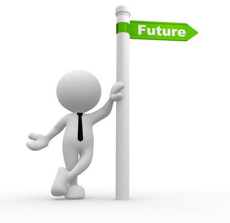 3d people - man, person with a road sign   Future  concept Stock Photo - 16896975