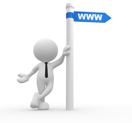 url web: 3d people - man, person with a road sign and WWW  web online domain   Stock Photo