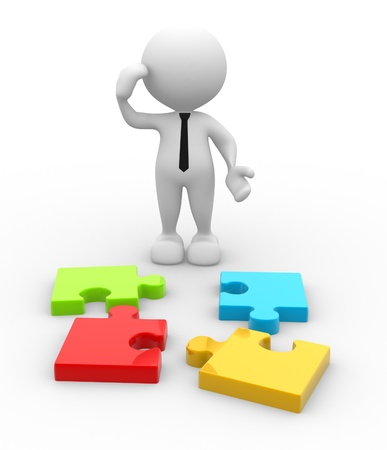 3d people - man, person with pieces of puzzle  Confused Stock Photo - 16897006