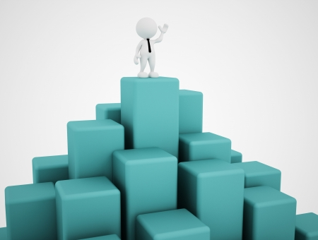 3d art: 3d people - man, person in equilibrium on cubes  Stock Photo