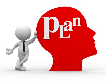 3d people - man, person with a human head and word  plan  photo