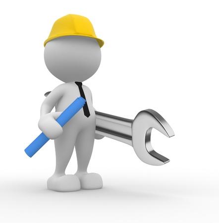 3d personnes - homme, personne avec un projet et un ingénieur clé