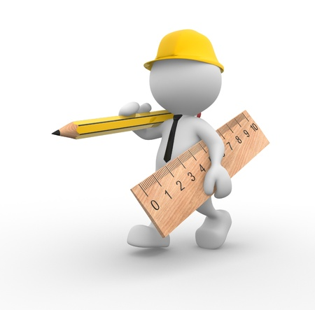 3d people - man, person with wooden pencil and ruler  Builder Stock Photo