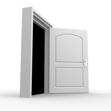 Open door  3d render photo