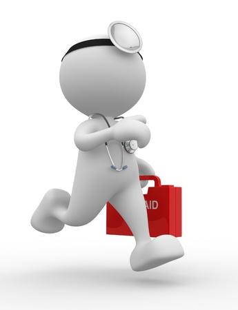 3D 사람 - 사람, 청진 기 및 응급 처치를 가진 사람. 의사 스톡 콘텐츠