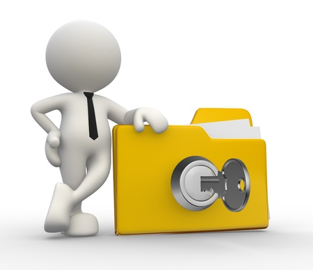 encrypt: 3d people - man, person with a folder and a key. Concept of security