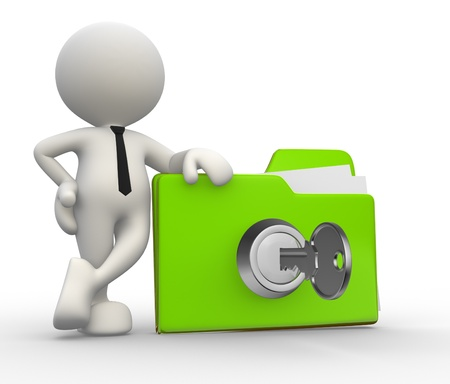 safes: 3d people - man, person with a folder and a key.  Stock Photo