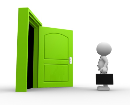 3d people - man, person with a briefcase standing in front of open door photo