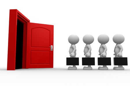 3d people - men, person with a briefcase standing in front of open door Stock Photo - 16930976