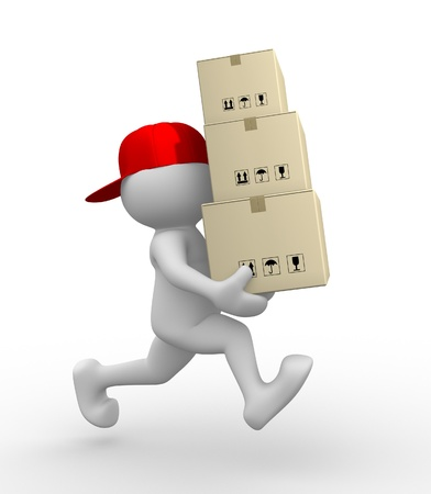 postman: 3d people - man, person with carton boxes ( packages) . Postman Stock Photo