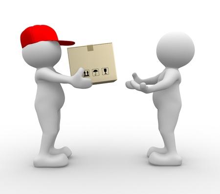 cartero: 3d gente - hombre, persona con la caja de cart�n (paquetes). Cartero - la entrega de un paquete