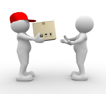 send parcel: 3d people - man, person with carton box ( packages) . Postman - delivering a package