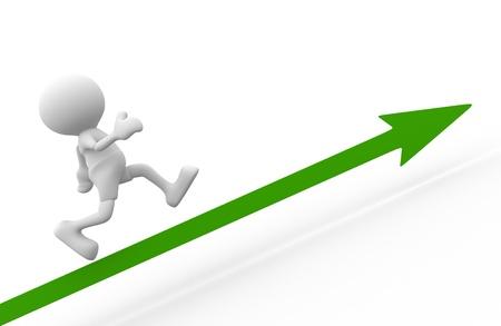 3d people - man, person running on arrow  Success Stock Photo - 16931003