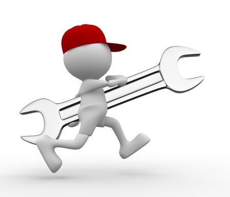 3d people - man, person running with wrench Stock Photo - 16930978