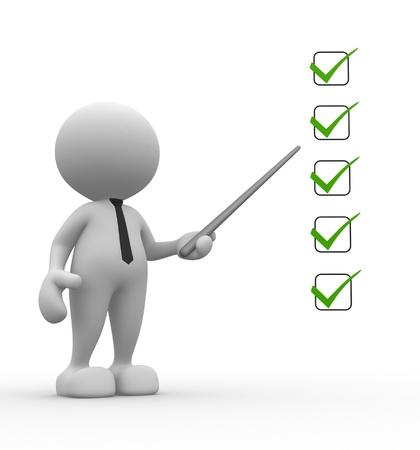 elenchi: Persone 3d - uomo, persona con un uomo d'affari checklist