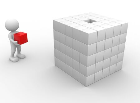 3d people - man, person with cubes  photo