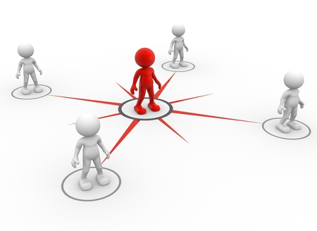 link work: 3d people - men, person network social. Concept of connection - teamwork and leadership
