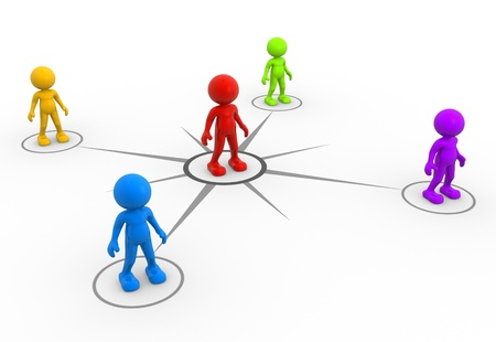 link work: 3d people - men, person network social. Concept of connection - teamwork. Stock Photo