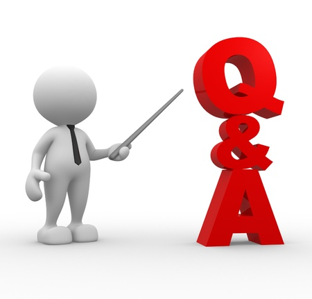 3d people - man, person pointing a word Q&A. Questions and answers Stock Photo