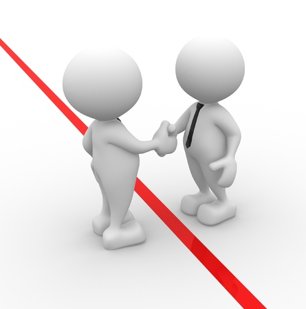 settlement: 3d people - men, person shaking hands. The concept of business partners