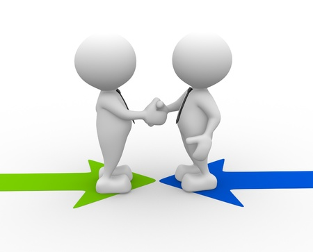 settlement: 3d people - men, person shaking hands on arrows. The concept of business partners