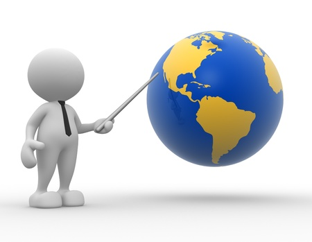 3d people - man, person pointing a earth globe photo