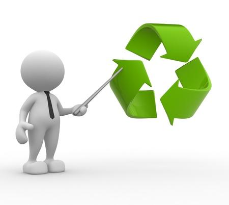 marioneta: 3d gente - hombre, persona apuntando con un símbolo de reciclaje