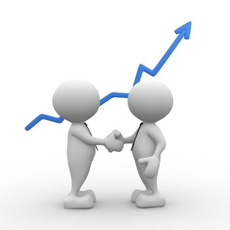 3d lidé - muži, osoba potřást rukou s rostoucí graf