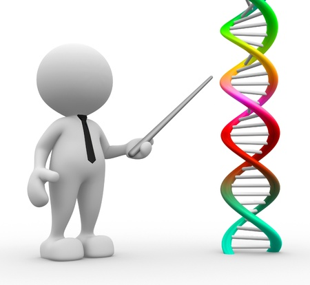 dna: 3d people - man, person pointing a DNA