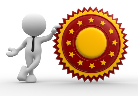 quality assurance: 3d people - man, person with a guarantee seal