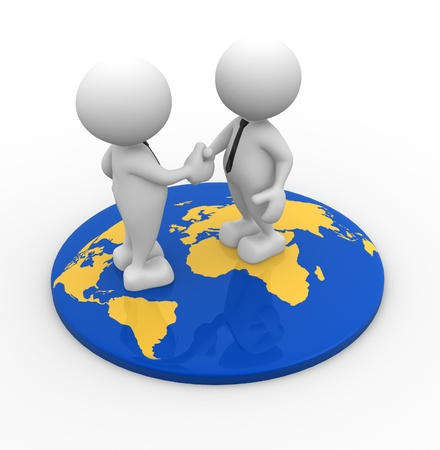 3d people - men, person standing on world map and shaking hand photo