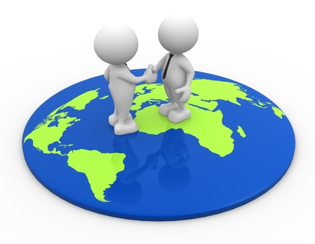 3d people - men, person standing on world map and shaking hand Stock Photo - 16965344