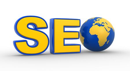3d SEO text with earth globe . SEO( Search Engine Optimization ) Concept photo