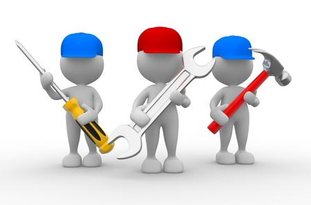 screwdriver: 3d people - men, person with the tools in the hands. Wrench, hammer and screwdriver