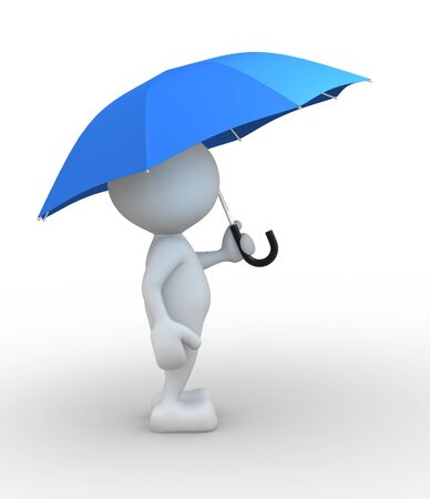 3d people - man, person with a umbrella photo