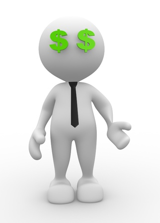 3d people - man, person with a dollar sign. Vision Stock Photo - 17023230