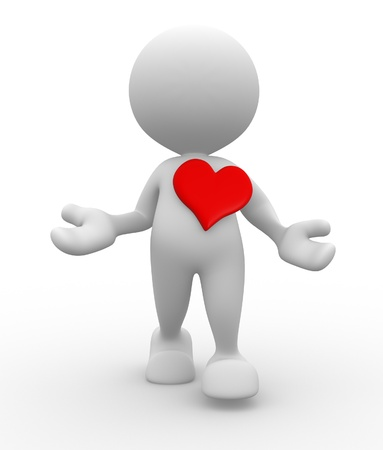 provide: 3d people - man, person with a red heart. Concept of love Stock Photo