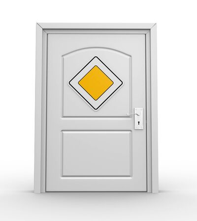 A closed door and a priority road sign. 3d render photo