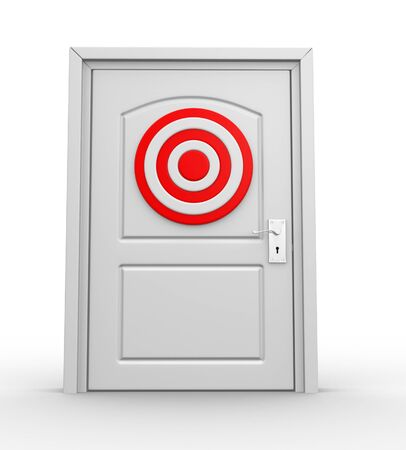 precisely: A closed door and a target. 3d render
