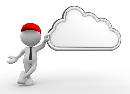 3d people - man, person and a cloud. Blank Stock Photo - 17043057
