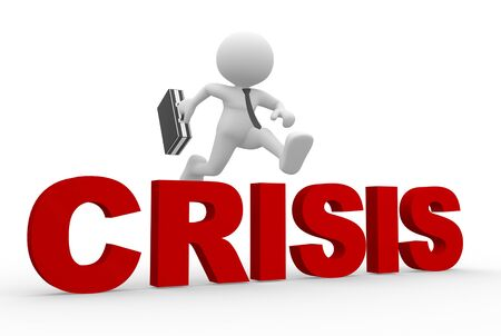 3d people - man, person jumping over word &quot, crisis&quot,. photo