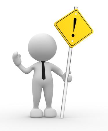 interdiction: 3d personnes - homme, personne avec un signe d'alerte jaune.